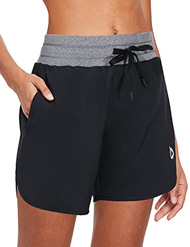 BALEAF Women's 5' Long Running Shorts with Liner Drawstring Zipper Pockets for Athletic Workout Gym Gray M