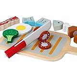 B&Julian® Holz Schneiden Spielzeug Lebensmittel BBQ Grill Set mit Schneidebrett Küchenspielzeug für Kinderküche Spielküche Kaufladen Zubehör 14 TLG. als Rollenspielzeug für Kinder ab 3