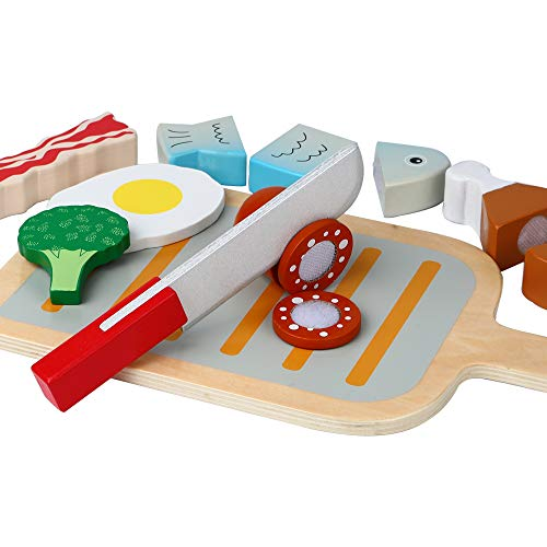 B&Julian Juego de barbacoa de parrilla de juguete de corte de madera de colores en 14 piezas para niños de 3 juguetes de cocina
