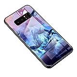 [Luminosa]Hpory compatibile con Samsung Galaxy Note 8 Custodia Agganciabile Luminosa BackCover Ultra Sottile ad Adsorbimento con Cover Posteriore Rigida in Vetro Temperato Gel TPU Bumper, Delfino
