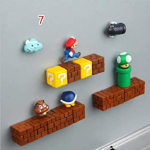 ZP-MIN Imanes de nevera Super Marios Siuts Green Mario Magn, ladrillos, balas, buzón de correo, juguetes para niños cumpleaños decoración del hogar, 10 piezas, traje 7