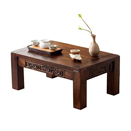 Tables Basse Basse Sculptée Balcon Baie Vitrée Petit Bureau À Thé Ancienne Orme Ancien Tatami Simple À Thé Kung Fu Basses (Color : Brown, Size : 60 * 40 * 25cm)