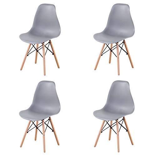 EGOONM Lot de 4/6 chaises Blanc/Noir Design Bois Chaise de Salle à Manger (Gris-4)