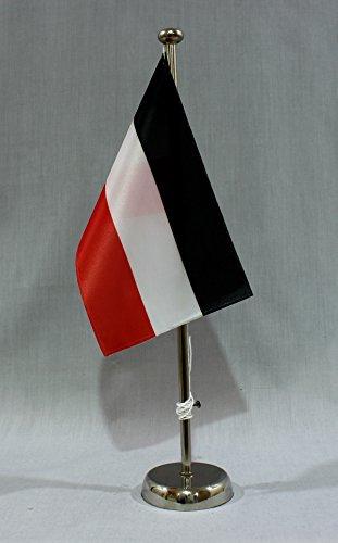Buddel-Bini Deutsches Kaiserreich 15x25 cm Tischflagge (CH) mit 42 cm Chrom Tischflaggenständer, edle Ausführung