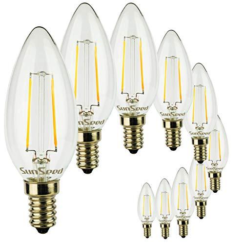 SunSeed 10x Lampadina E14 Filamento LED 2W Candela C35 225 Lm Luce Naturale 4000K