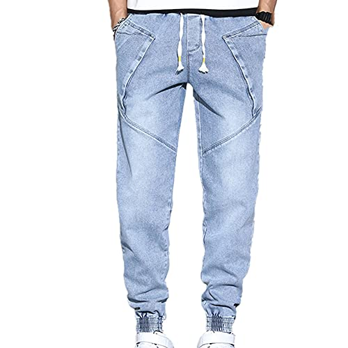 N\P Jeans Men's Spring and Autumn Large Youth Slim fit Small Leg Men's Pants Thin Blue
