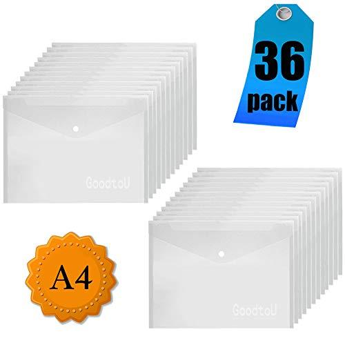 Dokumententaschen Transparent - A4 Dokumententasche Sammelmappe Dokumentenmappe mit druckknopf (36 Stück)