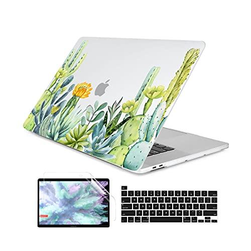 Funda de plástico impresa hojas verdes para MacBook Air 11 12 13 A2337 2020 Pro 13 A2338 A2289 15 16 Touch Bar 2019 A2141-X102-A1466 A1369