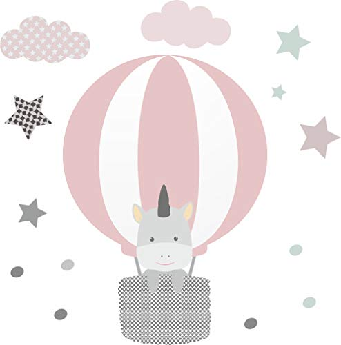 greenluup Öko Wandsticker Wandtattoos Heißluftballon Einhorn Rosa Grau Mint Sterne Wolken Baby Babyzimmer Kinder Kinderzimmer Mädchen (Rosa L)
