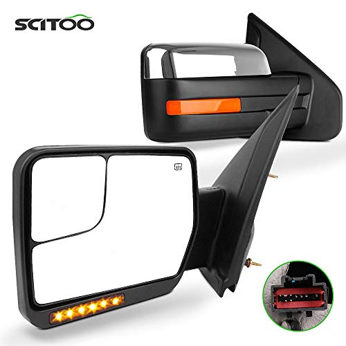 SCITOO Towing Mirrors Power Heated Turn Signal Puddle Lamps fit for 2004-2014...