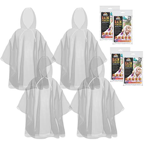 The Clean Explorer Disposable Rain Ponchos with Hood and Drawstring: Extra Thick (Adult and Child Sizes) (Clear - Adult Size)