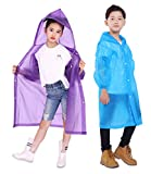 Gorain Pro Raincoat for Kids, [Pack of 2] EVA Kids Rain Coats Reusable Rain Poncho Jacket for Boys and Girls