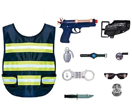 IndusBay® Police Costume Uniform for Kids - 10 Pc Police Officer Dress Role Play Kit with Vest, Handcuffs, Batch, Pistol Toy, Whistle, Eye Glasses, Dagger - Police Jacket for Boys and Girls