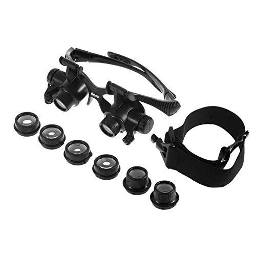 JICHUI 10X 15X 20X 25X LED Gläser Juwelier-Uhr-Reparatur-Vergrößerungs Doppel-Augen-Glas-Lupe-Objektiv-Messwerkzeug (schwarz)