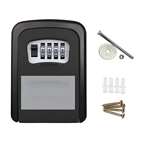 Schlüsselschlossbox, Wandmontierte Schlüsselbox Aus Aluminiumlegierung, Wetterfeste 4-Stellige Kombinationsschlüsselschlossbox, Innen Und Außen,Schwarz