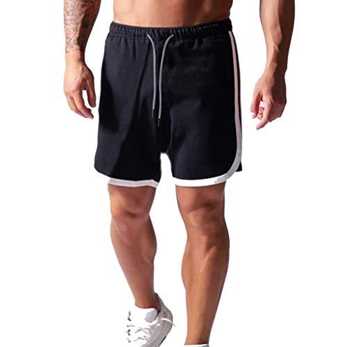 ZAYZ Shorts Deportivos 2 En 1 para Hombre Entrenamiento de Gimnasio Ligero Ropa Deportiva para Correr Entrenamiento de Baloncesto Corto (Color : Black, Size : L)