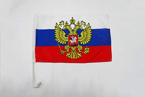 AZ FLAG AUTOFAHNE Russland MIT Adler 45x30cm - RUSSISCHE AUTOFLAGGE 30 x 45 cm Auto flaggen