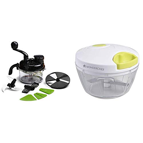 Wonderchef Turbo Dual Speed Food Processor, Black & String Plastic Chopper, White and Green Combo