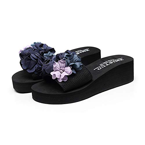 NVSRZTX Pantoletten Damen Sommer Flach Bade Schlappen mit Blumen Frauen Weiche rutschfest Strand Badeschuhe,Blue,37