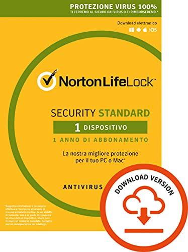 Norton Security Standard Antivirus Software 2019 | 1 Dispositivo (Licenza di 1 anno) | Compatibile con Mac, Windows, iOS e Android | Codice d attivazione via email