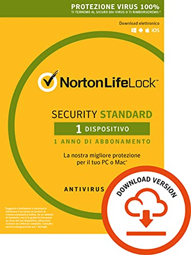 Norton Security Standard Antivirus Software 2019 | 1 Dispositivo (Licenza di 1 anno) | Compatibile con Mac, Windows, iOS e Android | Codice d'attivazione via email