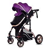 Cochecito para bebé, cochecito de bebé ligero, carrito de bebé, silla plegable plegable, carrito de viaje compacto, arnés de cinco puntos, ideal para avión morado morado Talla:mediano