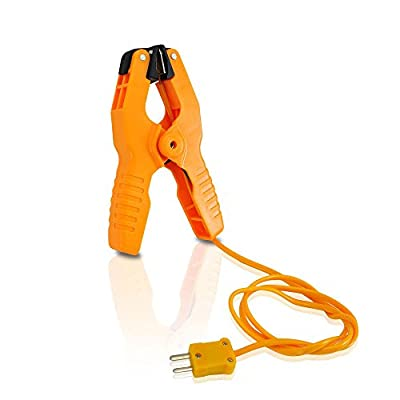 Pipe Clamp Temperature Probe Tool - Type-K Pipe Clamp Adapter Thermocouple Probe for External Meter or Gauge Device Like Digital Multimeters and Clamp Meters, Measures Temperature - Pyle PCTL01, Orange