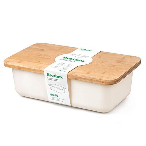 Minuma® Brotkasten Brotbox aus Bambusfaser mit integriertem Bambusschneidebrett als Deckel (lebensmittelecht) | cremeweiß