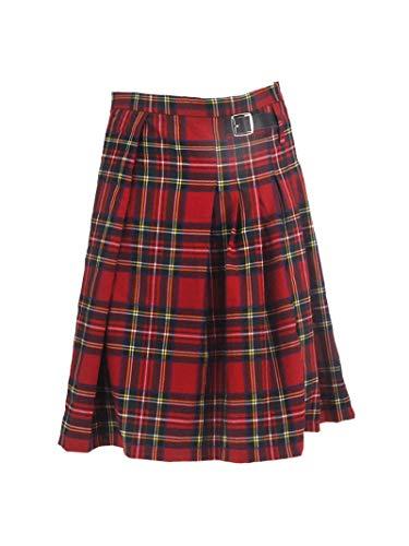 Astemdhj Falda Escocesa Scottish Skirt Falda Plisada De Cintura Plisada A Cuadros Rojos De Tartán Escocés Gótico Punk con Hebilla De Cuero De Imitación Pantalones Escoceses para H
