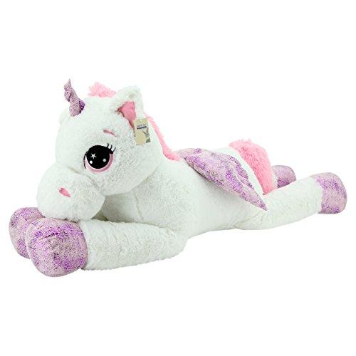 Sweety Toys 8056 XXL Einhorn Pegasus Plüschtier Kuscheltier 130 cm weiss