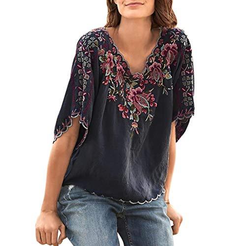 KPPONG Damen Bluse V-Ausschnitt Stickerei Blume Gedruckte Spitze Saum Elegant Kurzarm Tunika Oberteile Hemd Tops T-Shirt
