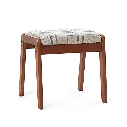 Stapelbarer Esszimmerstuhl aus Holz Wohnzimmer Schminktisch Make-up Sitz Stuhl Hocker Gepolstertes weiches Kissen mit abnehmbarem Leinenbezug C-Braun