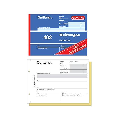 Herlitz 886622 Quittungsblock A6, 2 x 40 Blatt, selbstdurchschreibend, 10 Stück