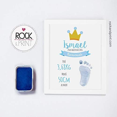 Cuadro para huella de bebé con tinta y marco. Elige el color...