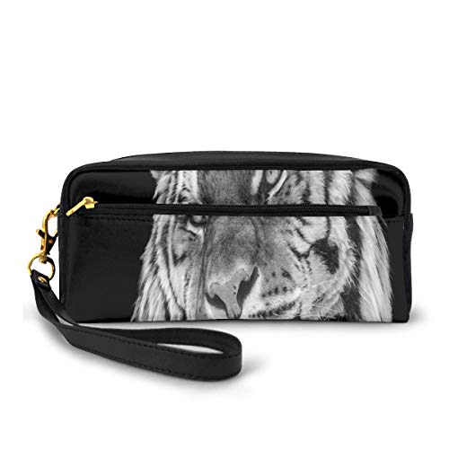Pencil Case Pen Bag Pouch Stationary,Close-up Photo of A Wild Feline Beast with an Intense Gaze Strength of A Hunter,Small Makeup Bag Coin Purse