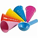 BASOYO Juego de Juguetes de Playa para niños - Juego de 5 Piezas de Helado de Arena Amarilla para niños y niños pequeños de 4, 5, 6, 7, 8, 9
