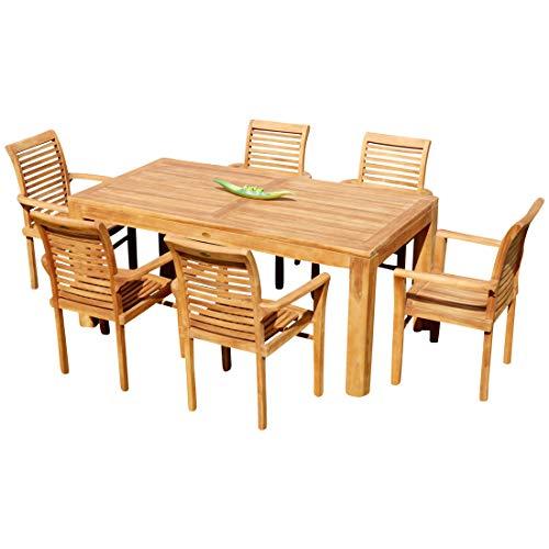 Echt Teak Set Gartengarnitur Bigfuss Tisch 180x90 mit 6 Sessel ALPEN Holz von AS-S