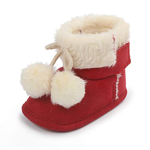 Fnnetiana Newborn Baby Warm Winter Snow Boots Toddler Soft Sole Anti-Slip Infant Prewalker Unisex Nursling Crib Shoes(0-6 Months, Pink)