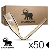 CHAMBONG – Classic Size, 50 Pcs Acrylic Shatterproof – Party Pack, Convenient Bulk Packaging - Champagne Shooter Plastic Flute - Fun Party Favor, Bachelorette, Bridesmaids Gifts, Drinking Game