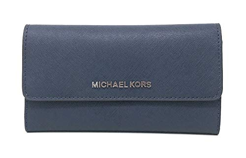 Michael Kors Jet Set Travel Large Trifold Leather Wallet (Navy/Silver)