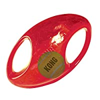 Squeaker and tumbling interior ball entice play Ideal for interactive fun Handles make pick up and shaking easy Available in two shapes: Ball and Football Available in two sizes: M/L and L/XL
