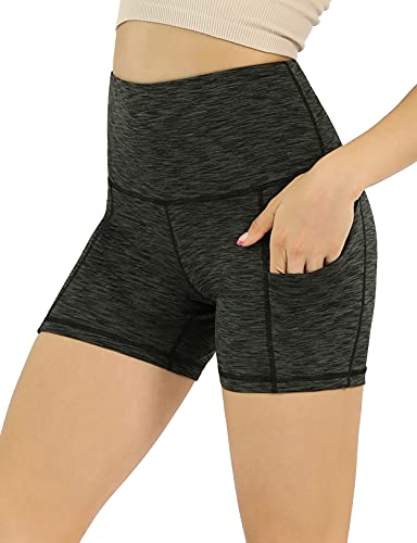 """ODODOS Women's 5"""" High Waist Biker Shorts with Pockets, Tummy Control Non See Through Weokout Sports Athletic Running Yoga Shorts, SpaceDyeCharcoal, Small"""