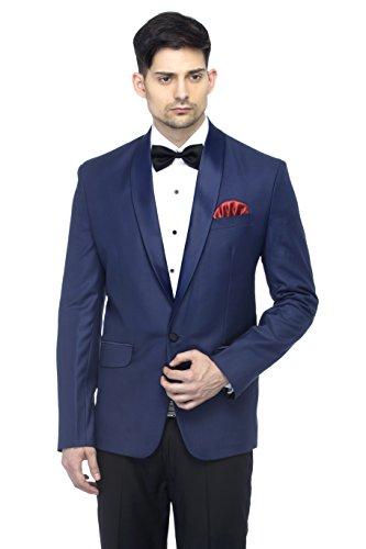 FAVOROSKI Designer Men's Solid Poly Viscose Slim Fit Shawl Collar Tuxedo Suit Blazer, Navy Blue