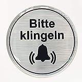 Aufkleber 3D 900066 Hinweisschilder Alu gebürstet Bitte klingeln - rund - exzellenter Wetterschutz