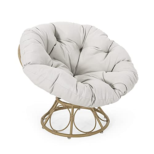 Christopher Knight Home 313036 Nicholas Outdoor Papasan Swivel Chair with Water Resistant Cushion,...