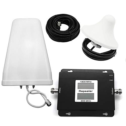 Baugger Amplificador De Señal - Gsm/Dcs 900 / 1800Mhz 2G / 4G Banda Dual Pantalla LCD Dual Amplificador de Señal de Teléfono Móvil Repetidor de Señal de Teléfono Celular Conjunto de Amplificador de