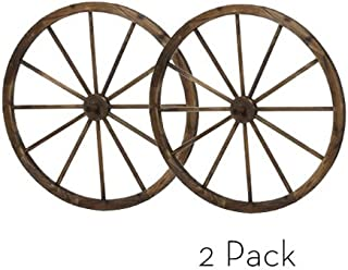 PierSurplus 36 in Steel-Rimmed Wooden Wagon Wheels - Decorative Wall Decor, Set of Two Product
