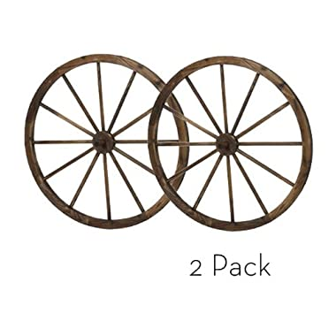 36 in Steel-rimmed Wooden Wagon Wheels - Decorative Wall Decor, Set of Two Product SKU: PL50020