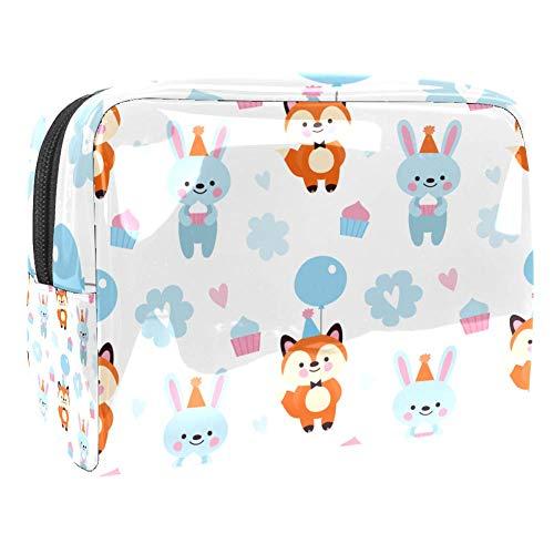 Trousse de maquillage portable en PVC - Sac de voyage étanche - Pour femme et fille - Renard et lapin dans des chapeaux festifs
