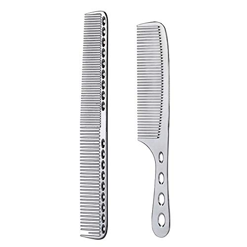 2 pcs Stainless Steel Hair Combs Anti Static Styling Comb Hairdressing Barbers Combs (Silver)
